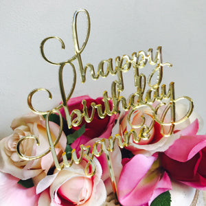 Happy Birthday Personalised Cake Topper Birthday Cake Topper Cake Decoration Cake Decorating Happy Birthday Cursive Topper SMT Sugar Boo
