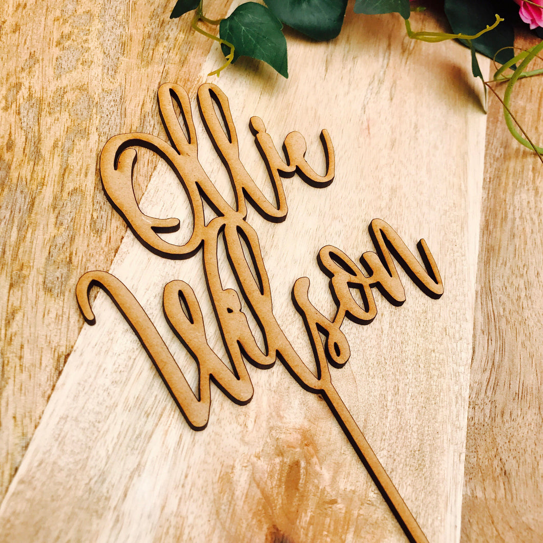 Personalised Name Cake Topper Birthday Cake Topper Custom Cake Decoration Wedding Engagement Birthday Baptism Christening SHL2 Sugar Boo