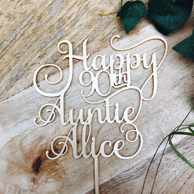 Happy Birthday Personalised Cake Topper Birthday Cake Topper Cake Decoration Cake Decorating Happy Birthday Cursive Topper SMT with year