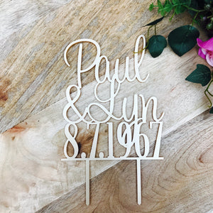 Name and Date Personalised Wedding Cake Topper Wedding Cake Engagement Cake Topper Cake Decoration Cake Decorating Name Wedding Cake Topper