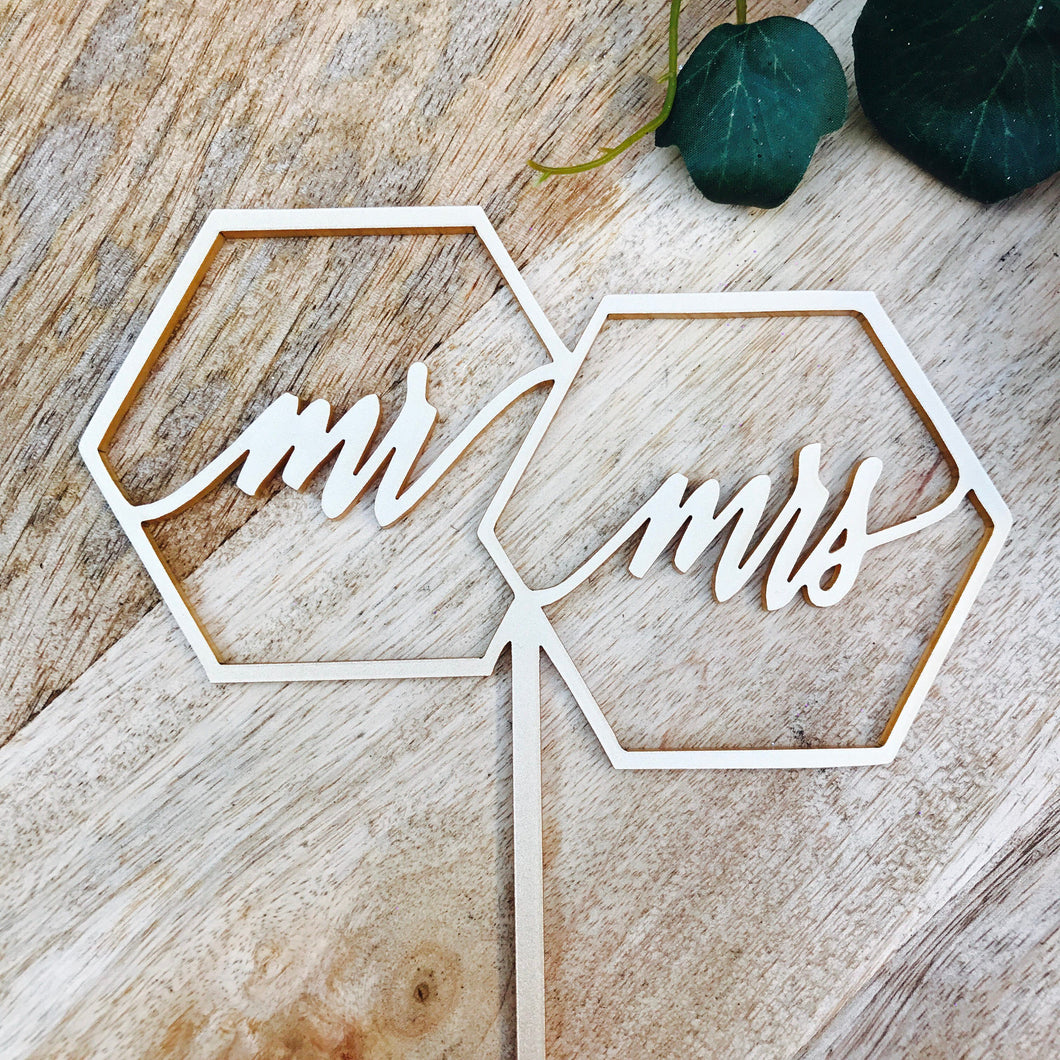 Hexagon Mr Mrs Cake Topper Mr & Mrs Cake Topper Cake Decoration Cake Decorating Mr Mrs Cake topper Sugar Boo SugarBoo Custom toppers