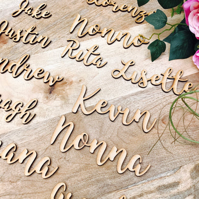 Custom timber place cards, Personalised wooden name places for Wedding, Laser cut timber guest names bonbonniere Plain timber name SPMG