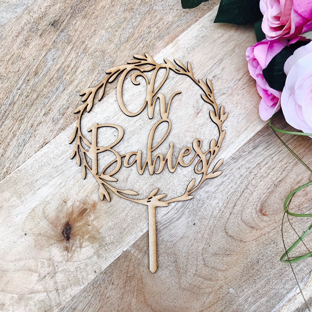 Oh Babies Wreath Cake Topper Boho Baby Shower cake topper wreath cake topper Topper wreath cake Cake Topper Personalised Baby Shower Twins