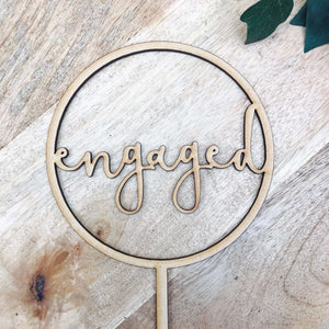 CLEARANCE 1 ONLY in Timber Engaged Cake Topper Engagement Cake Topper Circle Cake Cake Topper Cake Decoration Cake Decorating Engaged Topper