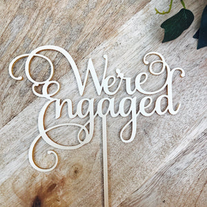 We're Engaged cake topper by Sugarboo personalized cake toppers we are engaged Cake Topper Cake Decoration Cake Decorating Engagement Cake