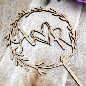 Monogram Wreath Cake Topper Boho wedding cake topper wreath cake topper Topper wreath cake initial Cake Topper wedding toppers with heart