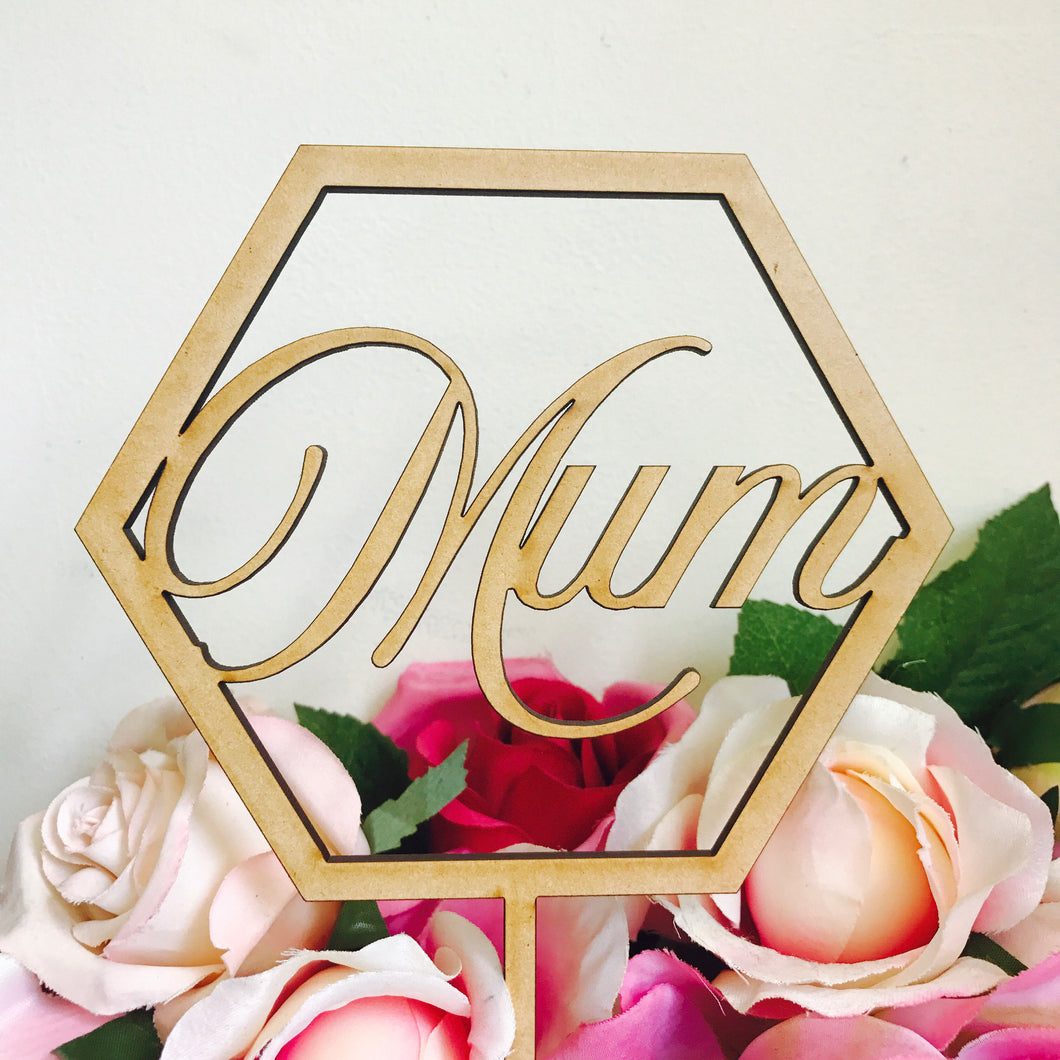 Mum Pentagon Mothers Day Cake Topper Cake Topper Cake Decoration Boho Cake Decoration Rustic Cake Mum Mom Mothers Day Sugar Boo Cake Topper