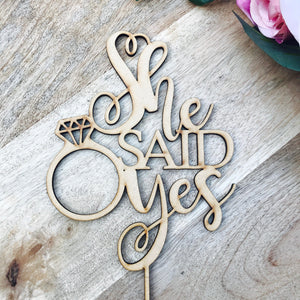 She Said Yes Cake Topper Bridal Shower Cake Kitchen Tea Cake Cake Topper Cake Decoration Cake Decorating Bride to be Topper Sugar Boo