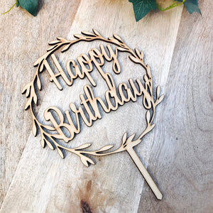 Happy Birthday Wreath Cake Topper Boho cake topper wreath cake topper Topper wreath cake birthday Cake Topper happy birthday toppers