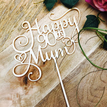 Happy Birthday Mum Cake Topper Birthday Cake Topper Cake Decoration Cake Decorating Happy Birthday Cursive Topper SMT with birthday personal