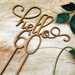 Hello 60 Cake Personalised Topper Sixtieth Birthday Cake Topper 60th Birthday Cake Topper Cake Decoration Cake Decorating sixty cake topper