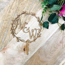 Monogram Wreath Cake Topper Boho wedding cake topper wreath cake topper Topper wreath cake initial Cake Topper wedding toppers Sugar Boo