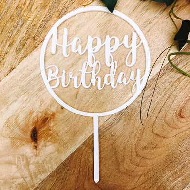 Happy Birthday Cake Topper Birthday Cake Topper Cake Decoration Cake Decorating Happy Birthday Cursive Topper CIRCSPMCG Sugar Boo SugarBoo