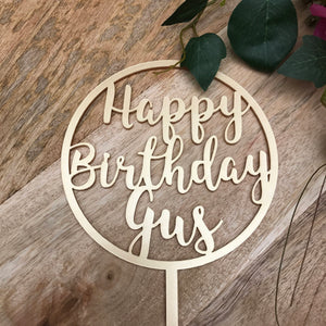 Happy Birthday Cake Topper Personalised Birthday Cake Topper Cake Decoration Cake Decorating Happy Birthday Cursive Topper CIRCSPMCGP