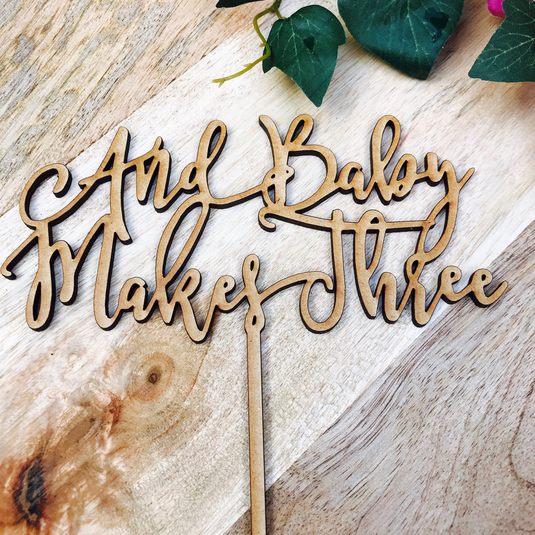 Download SVG File Cutting File And Baby Makes Three Cake Topper Baby Shower Cake Topper Cake Decoration Cake Toppers Toppers Baby Shower