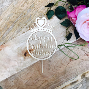 Princess Crown Cake Topper Personalised Birthday Cake Topper Cake Decoration Princess crown Sugar Boo Cake Toppers Cake Decoration SugarBoo