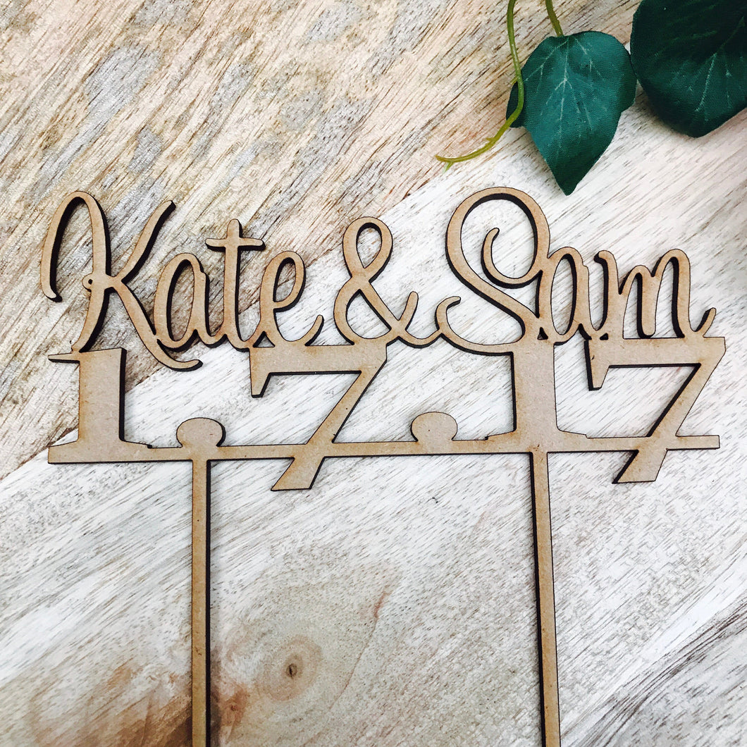Name and Date Personalised Wedding Cake Topper Wedding Cake Engagement Cake Topper Cake Decoration Cake Decorating Wedding Cake Topper V2
