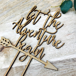 Let The Adventure Begin Cake Topper Birthday Cake Topper Baby Shower Cake Decorating Personalised Cake Toppers Birthday Cake Topper Boho