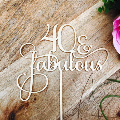Download SVG File Cutting File 40 Cake Topper 40 & Fabulous Cake Topper 40th Birthday Cake Topper Cake Decoration Cake Decorating Birthday