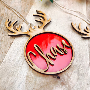Personalised Christmas Tree Ornament Christmas Tree Bauble Personalized Christmas Gift Rudolph