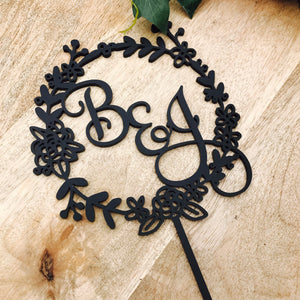 Monogram Wreath Cake Topper Boho wedding cake topper wreath cake topper Topper wreath cake initial Cake Topper wedding toppers FLSMT