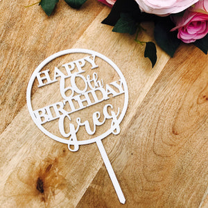 Happy Birthday Cake Topper Personalised Birthday Cake Topper Cake Decoration Cake Decorating Happy Birthday Cursive Topper CIRCSPCB