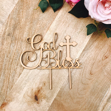 God Bless Cake Topper Cake Topper Cake Decoration Cake Toppers Personalized Baptism Cake Topper Christening Topper Religious Sugar Boo