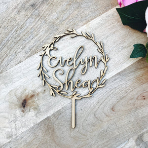 Personalised Wreath Cake Topper Boho Baby Shower cake topper Birthday Cake Topper wreath cake topper Baptism cake Cake Topper LVR