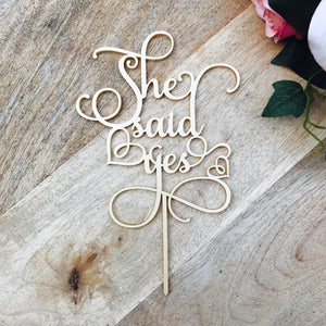 She Said Yes Cake Topper Bridal Shower Cake Kitchen Tea Cake Cake Topper Cake Decoration Cake Decorating Bride to be Topper Sugar Boo SMT