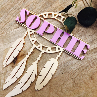 Personalised Timber Dream Catcher Isobella Design Boho Dreamcatcher Timber Personalised Dreamcatcher Dreamer Wall hanging Isobella Design