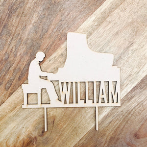 Personalised Piano Man Cake Topper Birthday Cake Topper Cake Decoration Cake Decorating Musician Cake Decor Party Decor Piano Sugar Boo