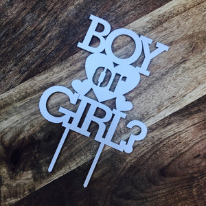 Gender Reveal Cake Topper Baby Shower Cake Topper Boy or Girl Cake Topper Shower Cake Topper Gender Reveal topper with hearts cake decor
