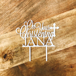 On Your Christening Personalised Cake Topper Cake Decoration Personalised Cake Toppers Christening Cake Topper Religious Cross Cake Topper
