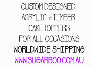 Personalised Name Cake Topper Birthday Cake Topper Custom Cake Decoration Wedding Engagement Birthday Baptism Christening LVD Sugar Boo