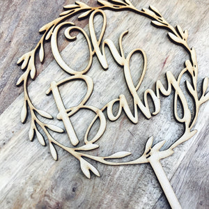 Oh Baby Wreath Cake Topper Boho Baby Shower cake topper wreath cake topper Topper wreath cake Cake Topper Personalised Baby Shower