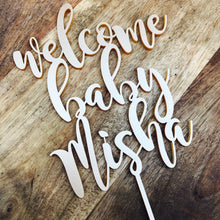 Welcome Baby Shower Personalised Cake Topper Cake Decoration Cake Toppers Toppers Baby Shower Cakes Personalised topper Baby shower cake MGN