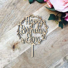 Happy Birthday Wreath Cake Topper Personalised Boho cake topper wreath cake topper Topper wreath cake birthday Cake Topper happy birthday