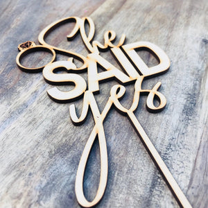 CLEARANCE 1 ONLY in Timber She Said Yes Cake Topper Bridal Shower Cake Kitchen Tea Cake Cake Topper Cake Decoration Cake Decorating  V3