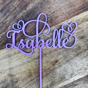 Personalised Name Cake Topper with Hearts Cake Topper Personalized Cake Topper Single Name Heart Cake Topper SMT