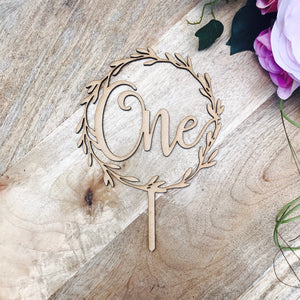 One Wreath Cake Topper Boho 1st Birthday cake topper wreath cake topper Cake Topper One birthday cake topper LVR