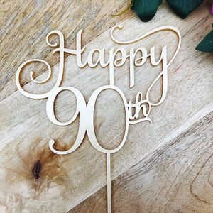 Happy 90th Birthday Cake Topper Decoration Decorating Personalised Toppers