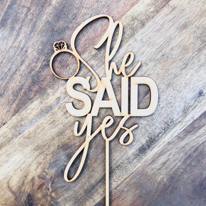 She Said Yes Cake Topper Bridal Shower Cake Kitchen Tea Cake Cake Topper Cake Decoration Cake Decorating Bride to be Topper Sugar Boo V3