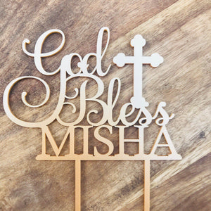 God Bless Cake Topper Cake Topper Cake Decoration Personalised Cake Toppers Personalized Baptism Cake Topper Christening Topper Religious