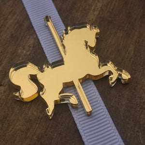 24 x  Gold Mirror Carousel Horse Mirror Tags 1.39 each Acrylic Mirror Tags Gift Tag Bonbonniere Tags Favor Tags Carousel Horse Ready to ship