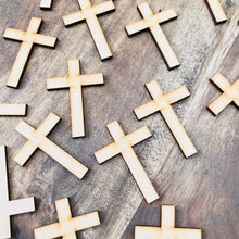 Plain Timber Crosses Religious Cross Gift Tag Bonbonniere Tags Favor Tags Cross Cut Out DIY Raw Timber Pack of 20