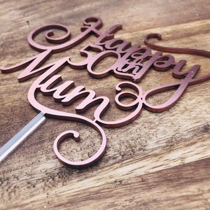 Happy 50th Mum Cake Topper Birthday Cake Topper Cake Decoration Cake Decorating Happy Birthday Cursive Topper SMTM
