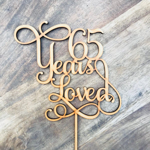 65 Years Loved Cake Topper Anniversary Cake Topper Cake Decoration Cake Decorating Wedding Anniversary Cake 65th Wedding Anniversary