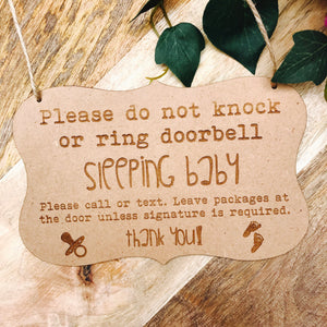 Mini Sleeping Baby Front Door Sign Gift Decor Wall Hanging Gift Boho Door Sign Decor Personalised Baby Shower Gift Rustic Timber Sign