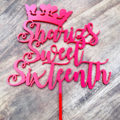 Personalised Sweet Sixteenth Cake Topper Crown Cake Topper Cake Decoration Cake Decorating Personalised Cake Toppers 16th Birthday Cake