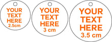 50 x 3.0 cm Personalised Acrylic Mirror Tags  Tags Christmas Tree Bauble Bag Tag Gift Tag Key Ring Engraved Circle Custom Made Your Text